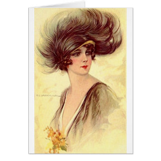 Flapper in Feathered Hat, Card