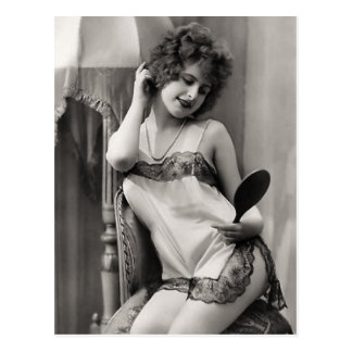 Flapper In Lingerie Postcard