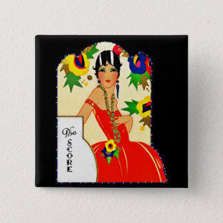 Flapper Keeping Score 2 Inch Square Button