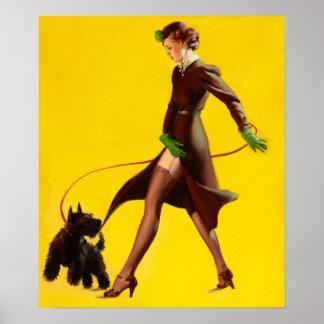 Flapper Pinup Girl Walking Her Pet Dog Poster