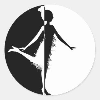 Flapper Silhouette Classic Round Sticker