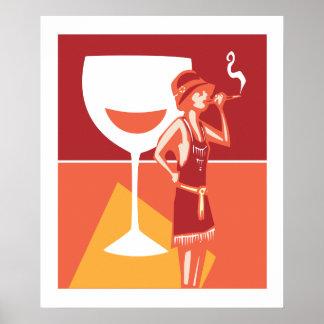 Flapper Speakeasy Wine Poster