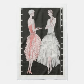 Flappers in Vintage Dresses Kitchen Towel