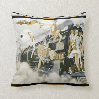 Flappers Take The Train Art Deco Pillow