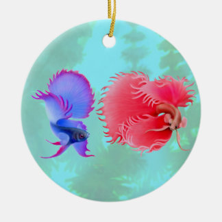 Flaring Betta Splendens Fighting Fish Ornament