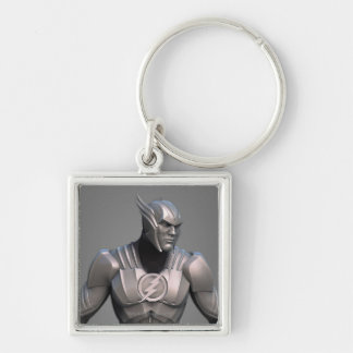 Flash Alternate 2 Silver-Colored Square Keychain
