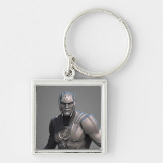 Flash Alternate Silver-Colored Square Keychain