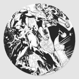 Flash and Green Lantern Panel 2 Round Sticker