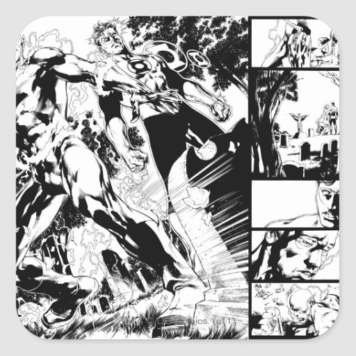 Flash and Green Lantern Panel 2 Square Sticker
