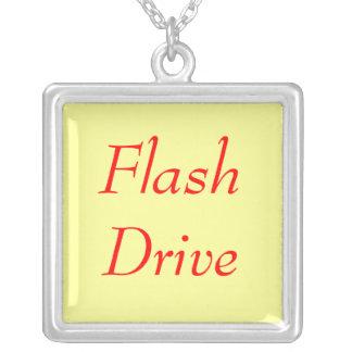 Flash Drive Square Pendant Necklace