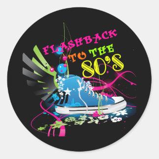 Flashback To The 80's Neon Sneaker Round Sticker