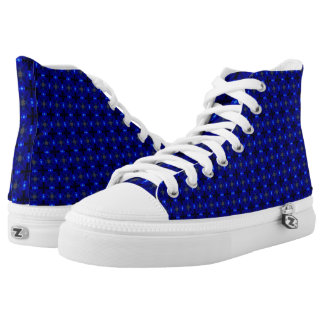 Flashy blue patterned shoes