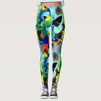 Flashy Cute Colour Butterfly Collage Designed Leggings