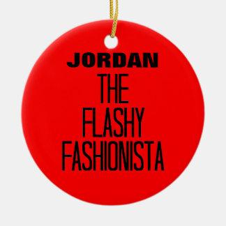 Flashy Fashionista Ceramic Ornament