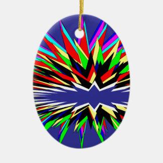 flashy purple ceramic oval ornament