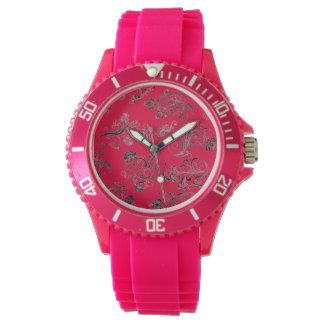 flashy & vibrant floral leaf design wrist watch