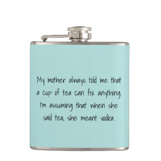 Flask for woman with sassy wit in a cool blue