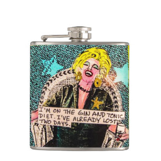 Flask-I'm on the gin and tonic diet. Hip Flask