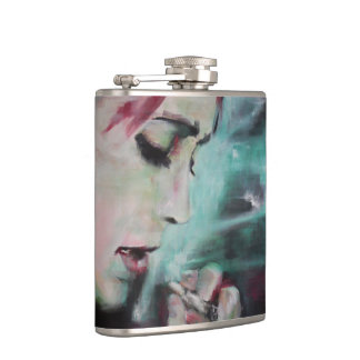 Flask smoke, woman with cigarette