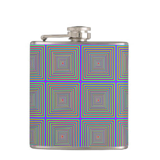 Flask: Squares in Squares / Optical Illusion Hip Flask