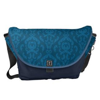 Flat Blue Damask Pattern Messenger Bag