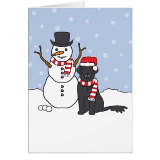 Flat-Coated Retriever and Snowman Card