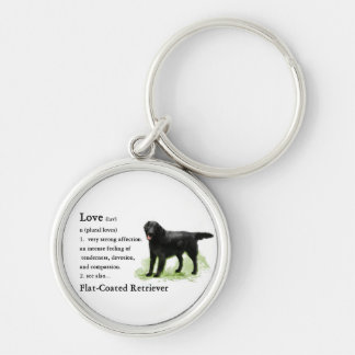 Flat-Coated Retriever Art Gifts Silver-Colored Round Keychain