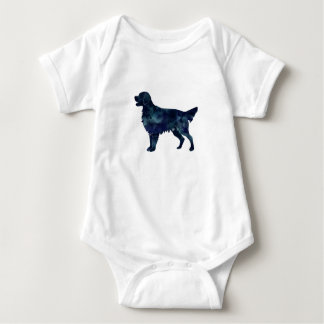 Flat Coated Retriever Black Watercolor Silhouette Baby Bodysuit