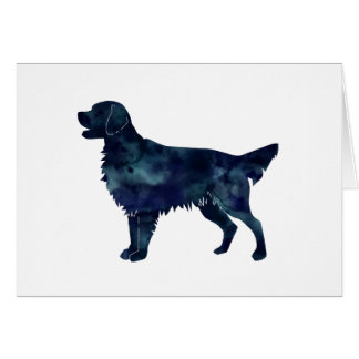 Flat Coated Retriever Black Watercolor Silhouette Card