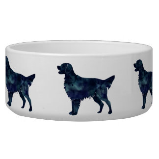 Flat Coated Retriever Black Watercolor Silhouette Dog Food Bowls