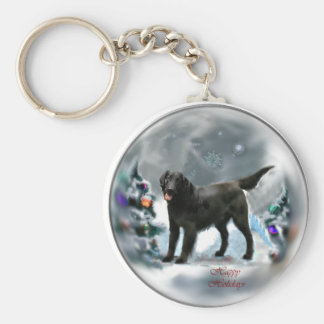 Flat-Coated Retriever Christmas Gifts Basic Round Button Keychain