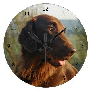 Flat Coated Retriever dog beautiful photo Large Clock