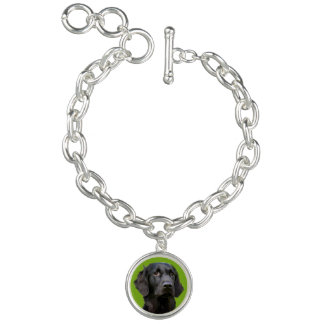 Flat Coated Retriever dog, black beautiful photo Charm Bracelet