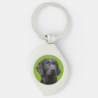 Flat Coated Retriever dog, black beautiful photo Silver-Colored Swirl Keychain