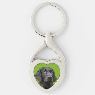 Flat Coated Retriever dog, black beautiful photo Silver-Colored Twisted Heart Keychain