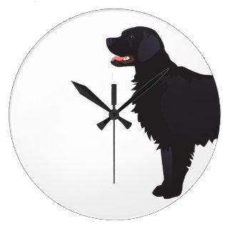 Flat-Coated Retriever Dog Breed Illustration Wall Clocks