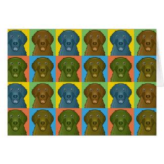 Flat-Coated Retriever Dog Cartoon Pop-Art Card