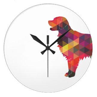 Flat Coated Retriever Dog Geometric Silhouette Clocks
