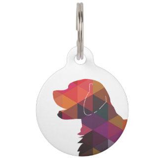 Flat Coated Retriever Dog Geometric Silhouette Pet Tag