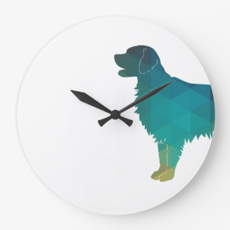 Flat-coated Retriever Geometric Silhouette Green Large Clock