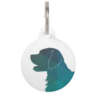 Flat-coated Retriever Geometric Silhouette Green Pet Name Tag