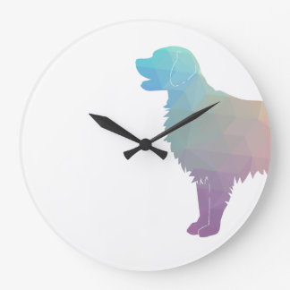 Flat-Coated Retriever Geometric Silhouette -Pastel Large Clock