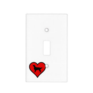 Flat-Coated Retriever Heart Love Dogs Light Switch Cover