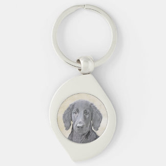 Flat-Coated Retriever Painting - Cute Original Dog Keychain