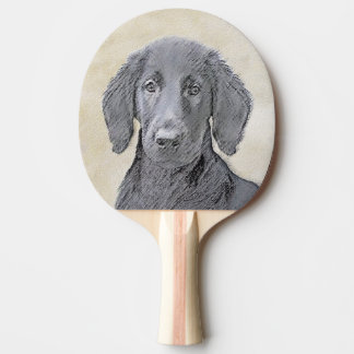 Flat-Coated Retriever Painting - Cute Original Dog Ping Pong Paddle