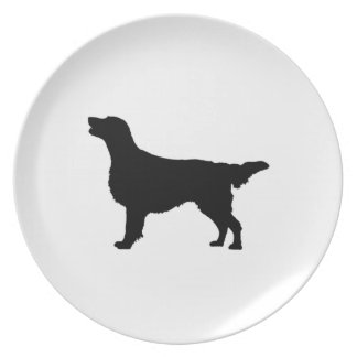 Flat-Coated Retriever Silhouette Love Dogs Plate