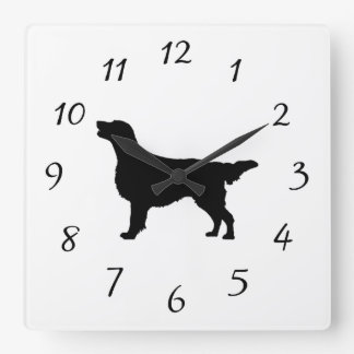 Flat-Coated Retriever Silhouette Love Dogs Square Wall Clock