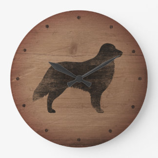 Flat Coated Retriever Silhouette Rustic Style Large Clock