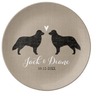 Flat Coated Retriever Silhouettes with Heart Plate
