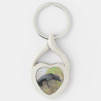 flat coated retriever wet Silver-Colored twisted heart keychain